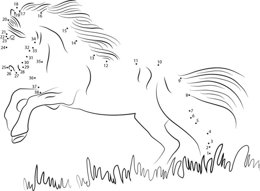 Relier les points cheval imprimable gratuit pour les enfants et les adultes - Comment relier 9 points avec 4 traits ...