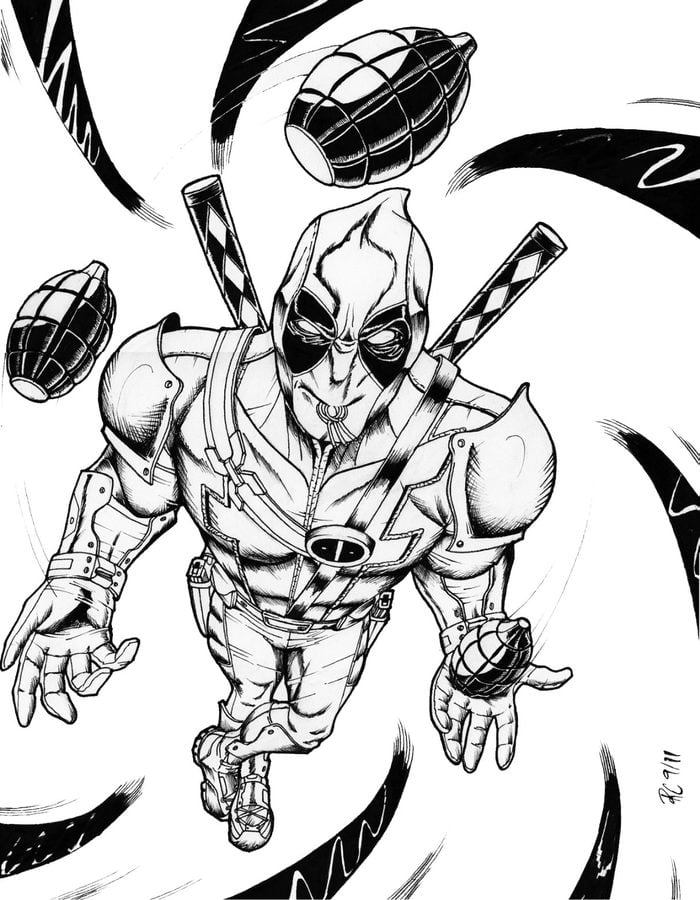 Marvel Deadpool Ausmalbilder Gratis: Ausmalbilder: Deadpool Zum Ausdrucken, Kostenlos, Für