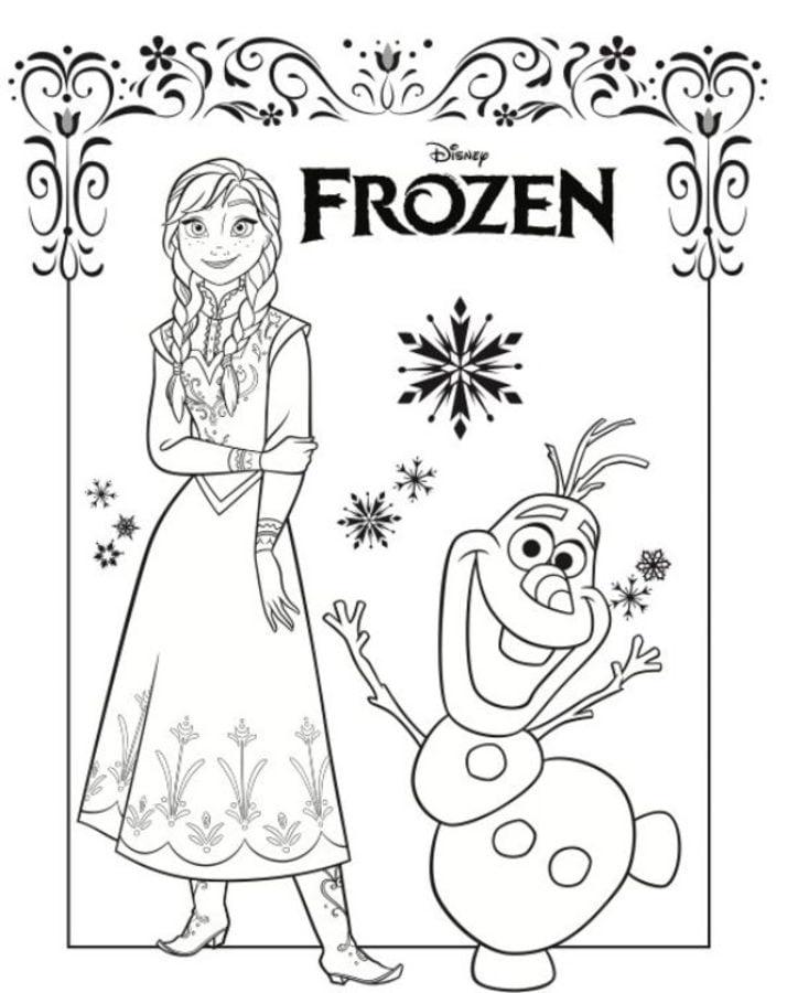Ausmalbilder Eisk nigin Anna und Elsa zum ausdrucken
