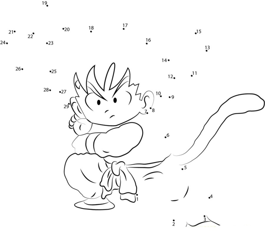 unir puntos dragon ball imprimible gratis para los