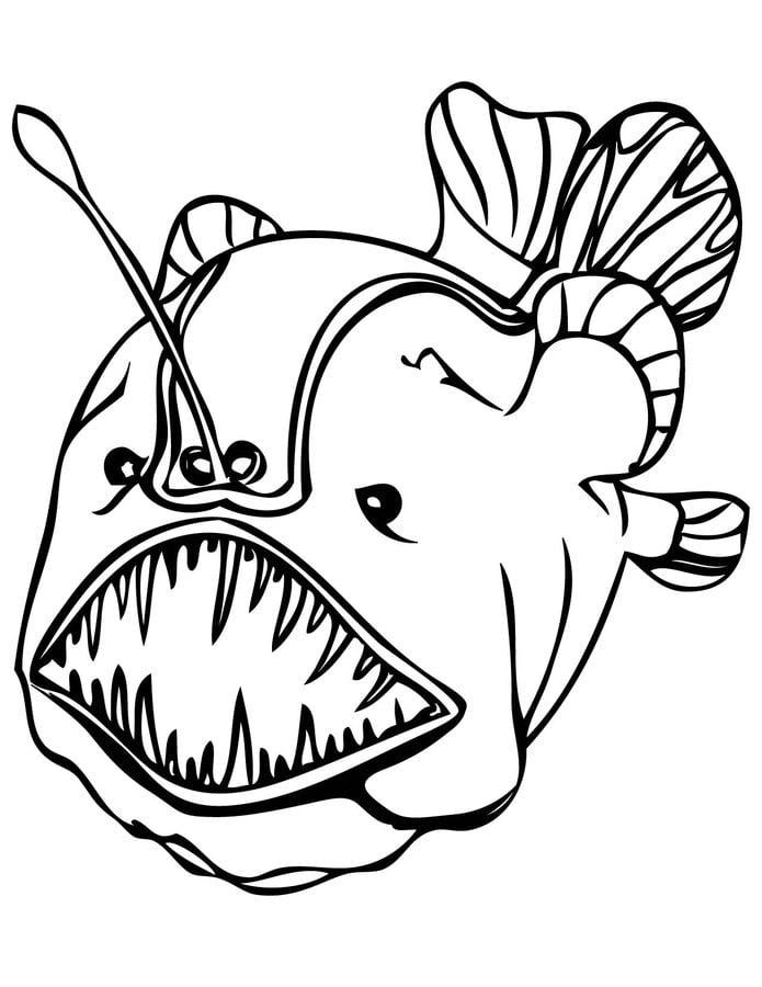 Disegni da colorare Pesci abissali stampabile gratuito