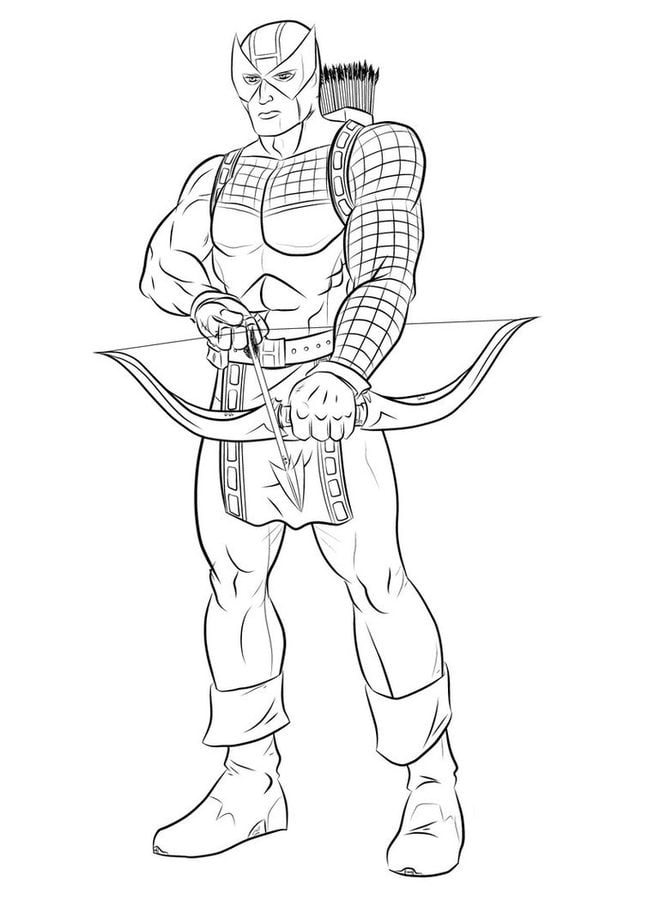 Coloring pages Hawkeye printable for kids adults free
