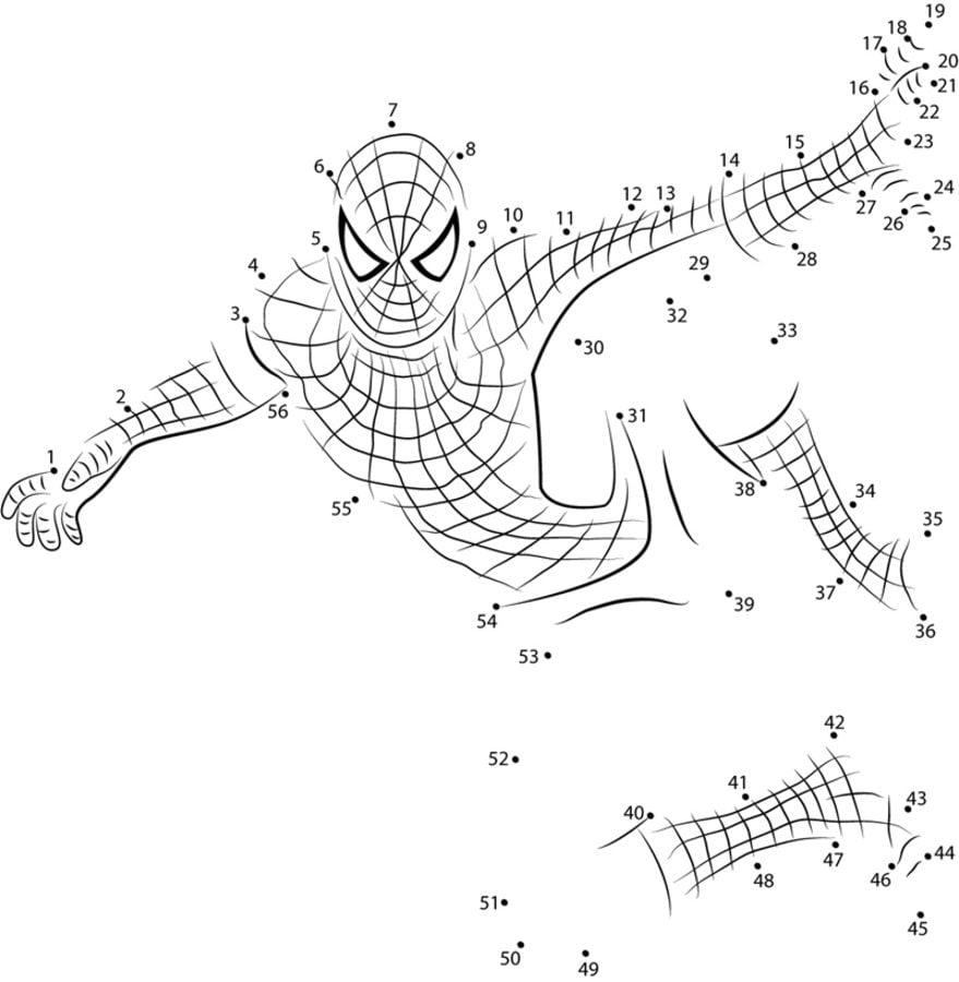 Relier les points spider man imprimable gratuit pour les enfants et les adultes - Relier 9 points avec 3 traits ...