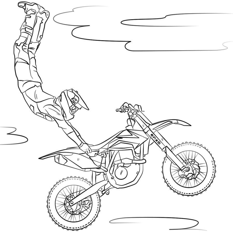 Dibujos para colorear: Motocross imprimible, gratis, para