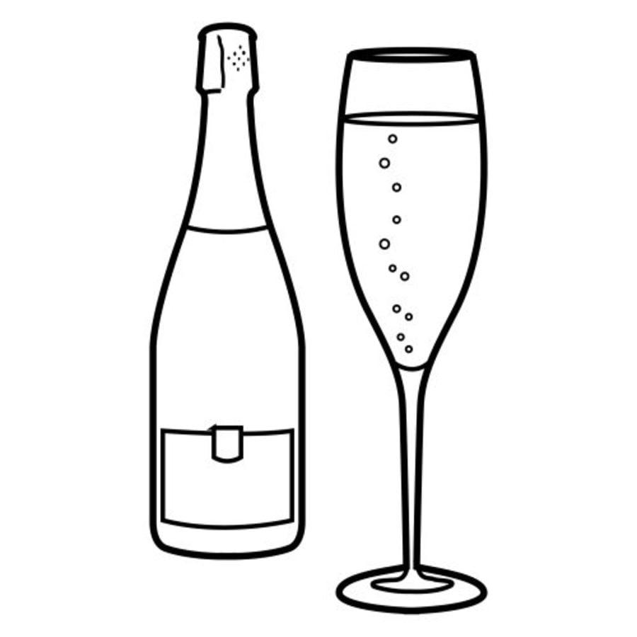 Ausmalbilder: Champagner Ausmalbilder Feiertagen Silvester