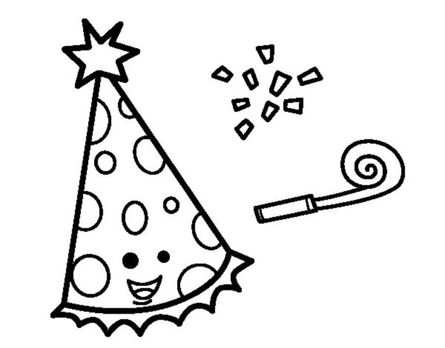 Ausmalbilder: Partyhüte Ausmalbilder Feiertagen Geburtstag Silvester