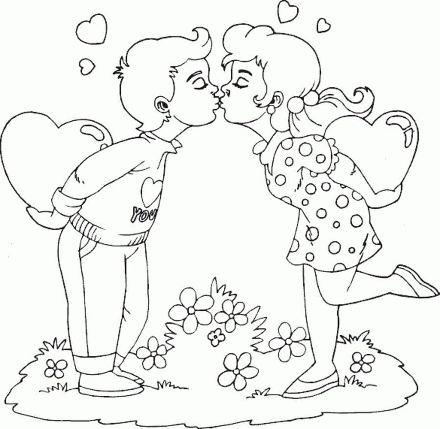 Kolorowanki Kolorowanki Pocałunek Do Druku Dla Dzieci I