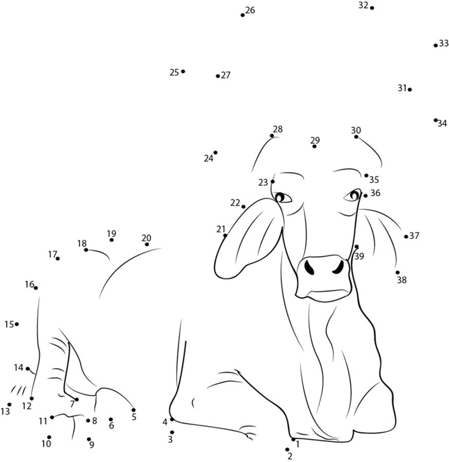 Unir puntos: Búfalo imprimible, gratis, para los niños y los adultos