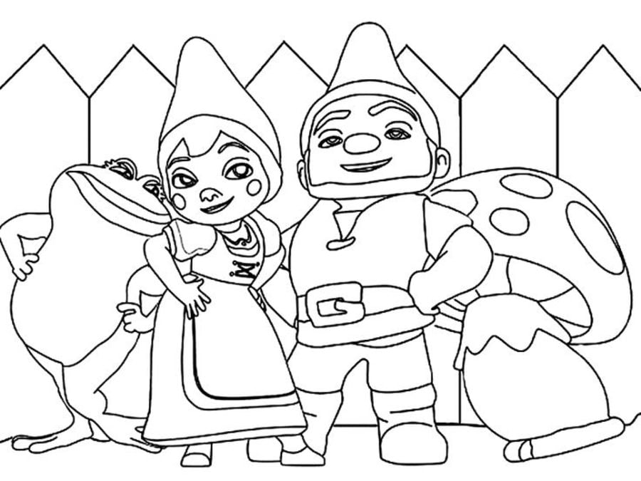 Coloring pages Gnomeo Juliet printable for kids adults free