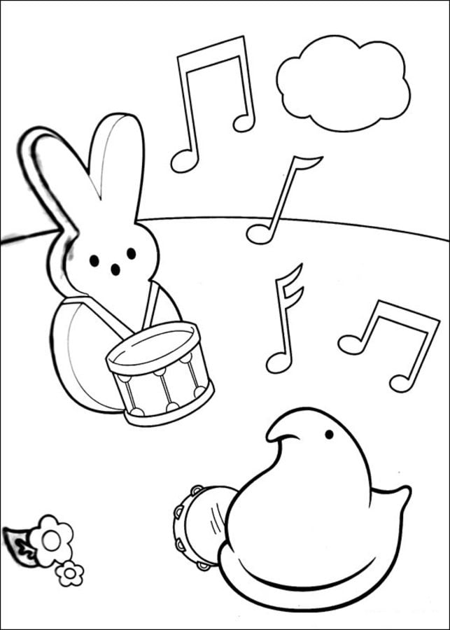 Dibujos para colorear Marshmallow Peeps imprimible