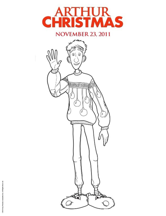 Coloring pages: Arthur Christmas, printable for kids & adults, free