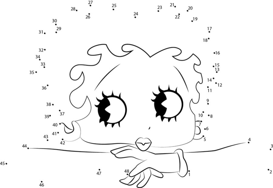 Unir puntos: Betty Boop imprimible, gratis, para los niños y los adultos