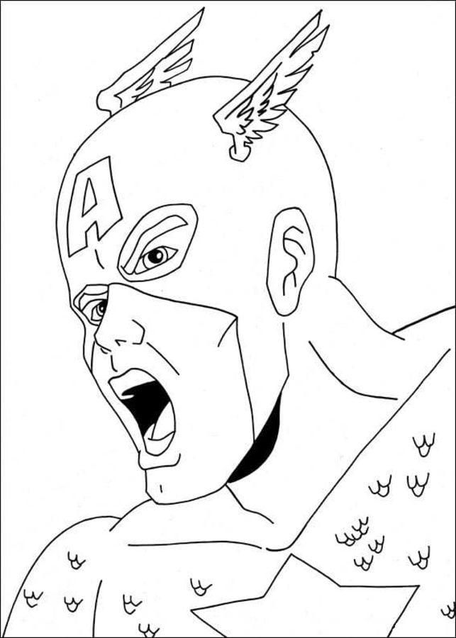 Dibujos para colorear Capitn Amrica imprimible gratis para