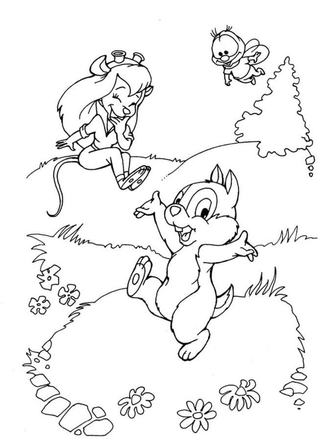 Dibujos para colorear: Chip y Dale imprimible, gratis, para los ...