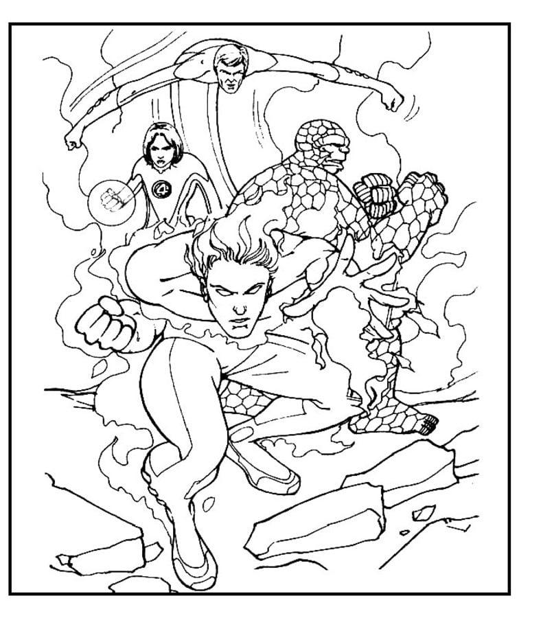 Dibujos para colorear: Los 4 Fantásticos imprimible, gratis, para ...