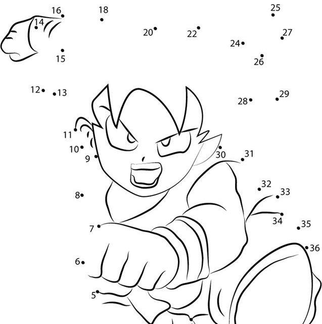 Unir Puntos Dragon Ball Imprimible Gratis Para Los Niños Y Los