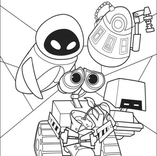 Wall-E coloring picture | 640x643