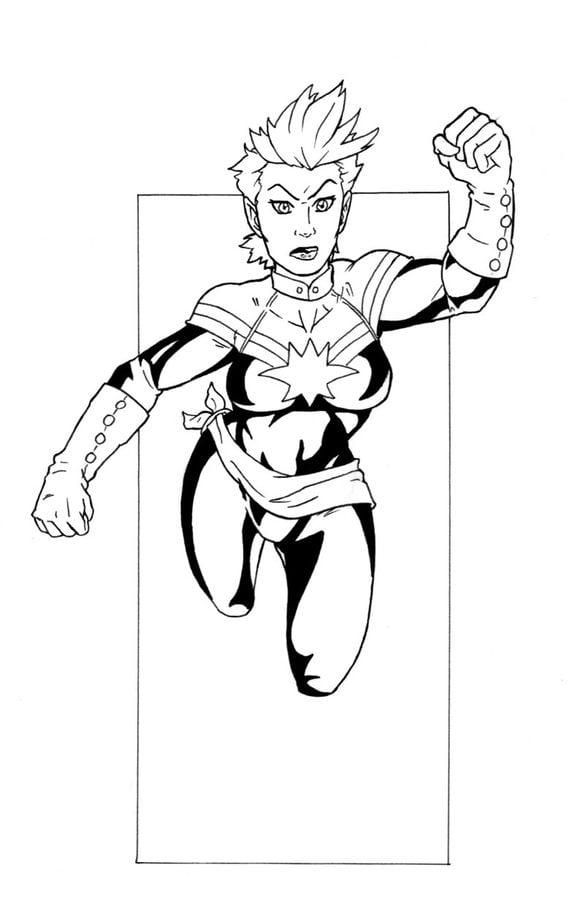 Dibujos para colorear: Carol Danvers / Captain Marvel imprimible ...
