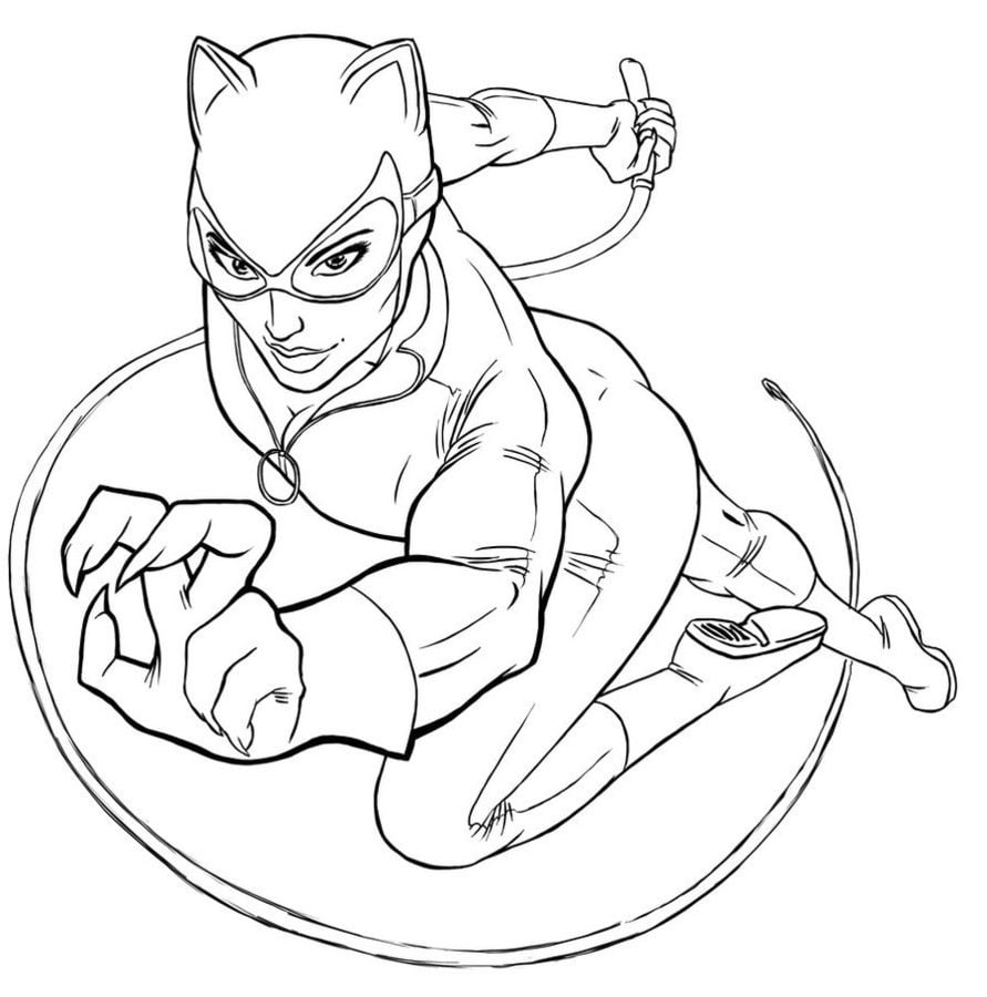 coloring pages catwoman printable for kids u0026 adults free