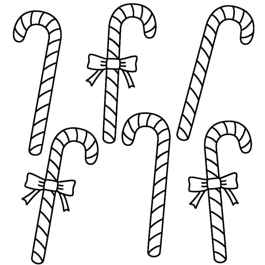 Dibujos para colorear: Bastón de caramelo navideño imprimible ...