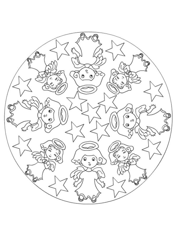 Ausmalbilder: Weihnachts Mandalas Ausmalbilder Feiertagen Weihnachten