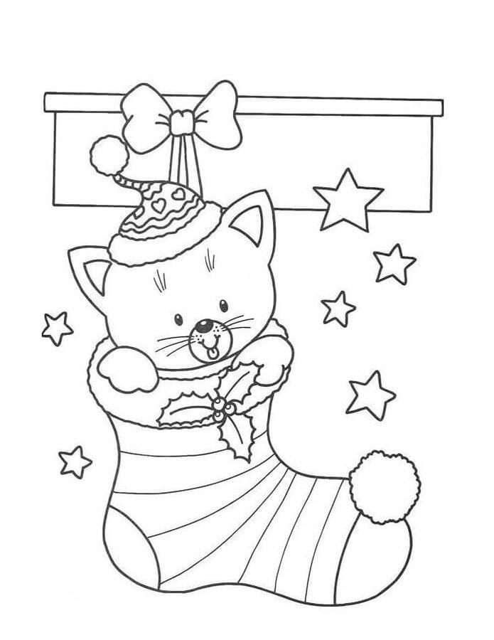 Kleurplaat Kat Halloween Kolorowanki Skarpeta Bożonarodzeniowa Do Druku Dla Dzieci