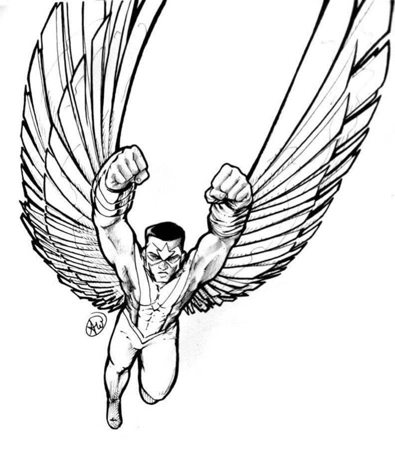 how to draw falcon the superhero