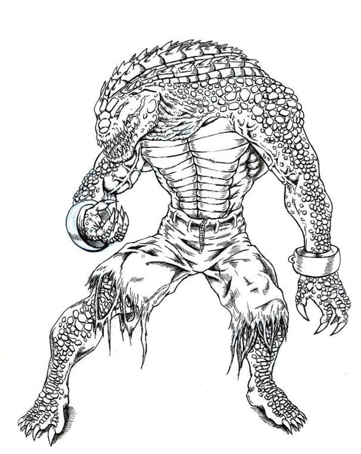 Coloring pages Killer Croc printable for kids adults free