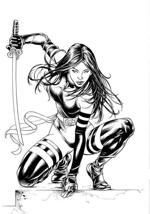 Coloring pages Psylocke printable for kids adults free