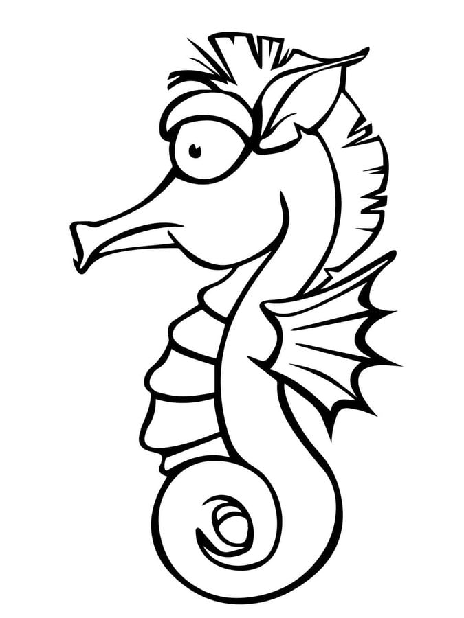 Coloring pages: Seahorse, printable for kids & adults, free