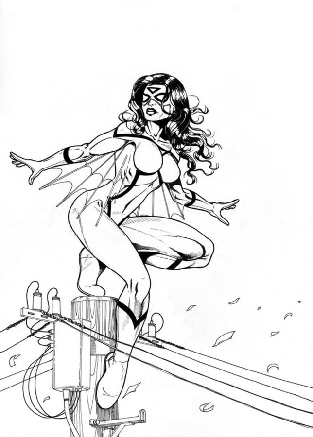 Captivating Spider Woman Coloring Pages Comics Marvel