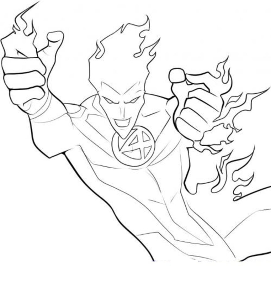 Coloring Pages Coloring Pages Johnny Storm Human Torch