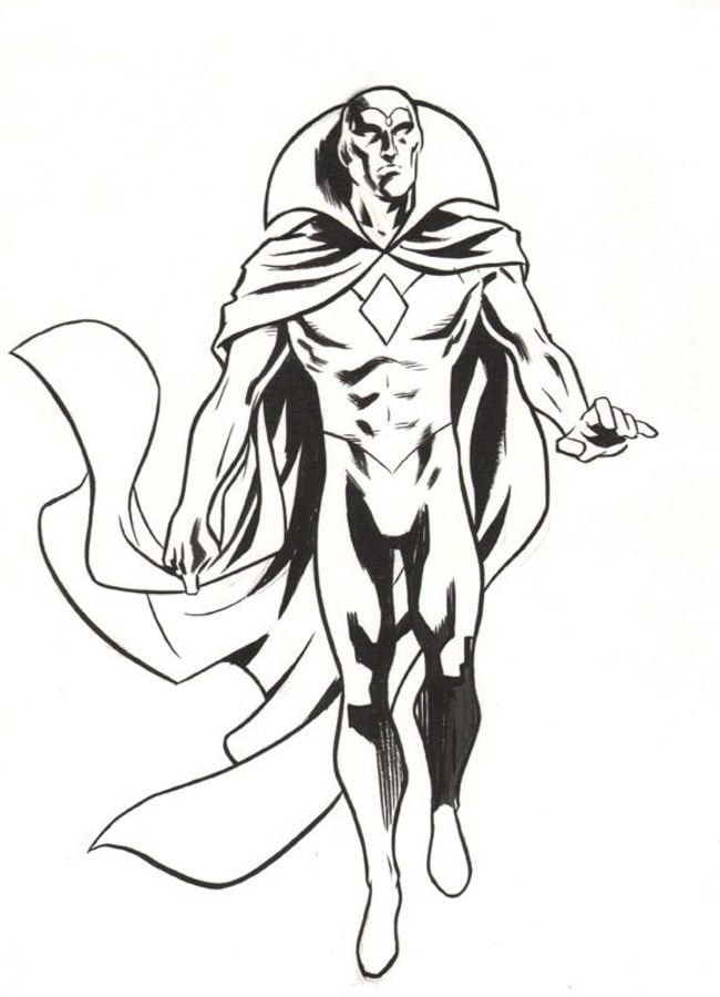 Vision Marvel Coloring Pages Sketch