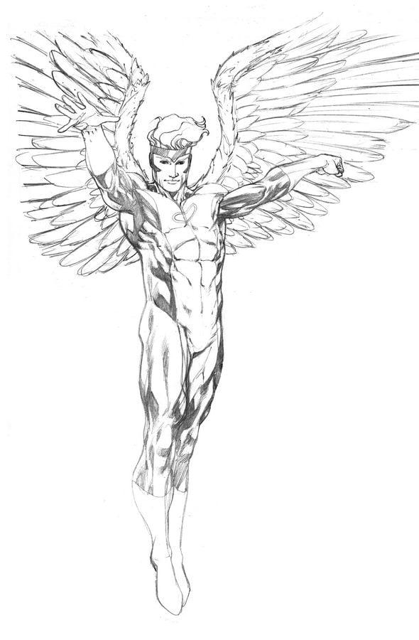 Ausmalbilder Marvel Helden Angel: Ausmalbilder: Ausmalbilder: Angel Zum Ausdrucken