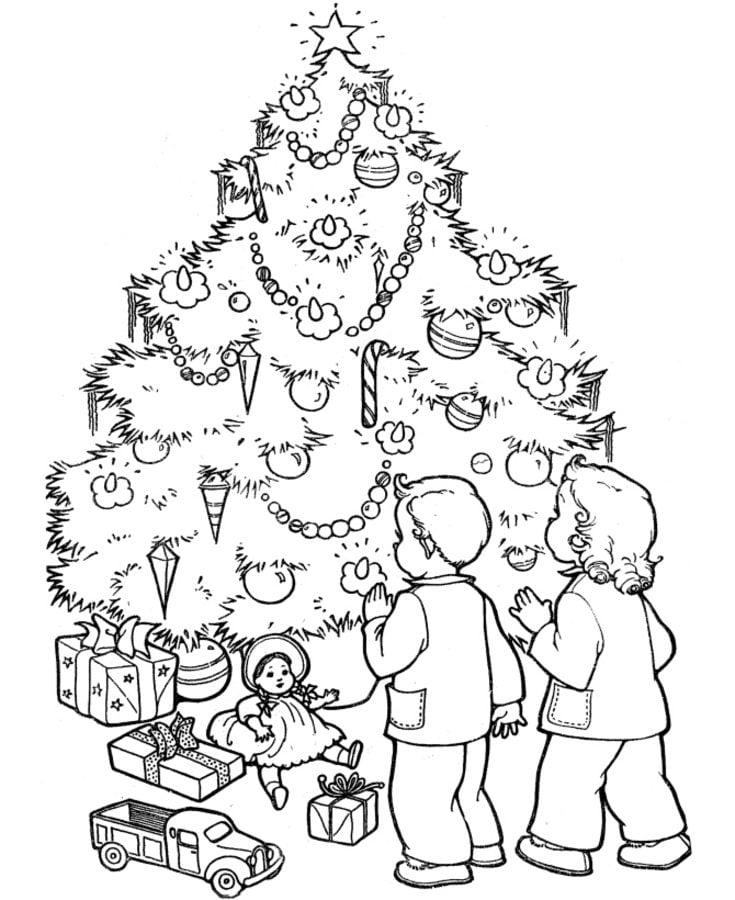 Dibujos para colorear: Árboles de Navidad imprimible, gratis, para ...