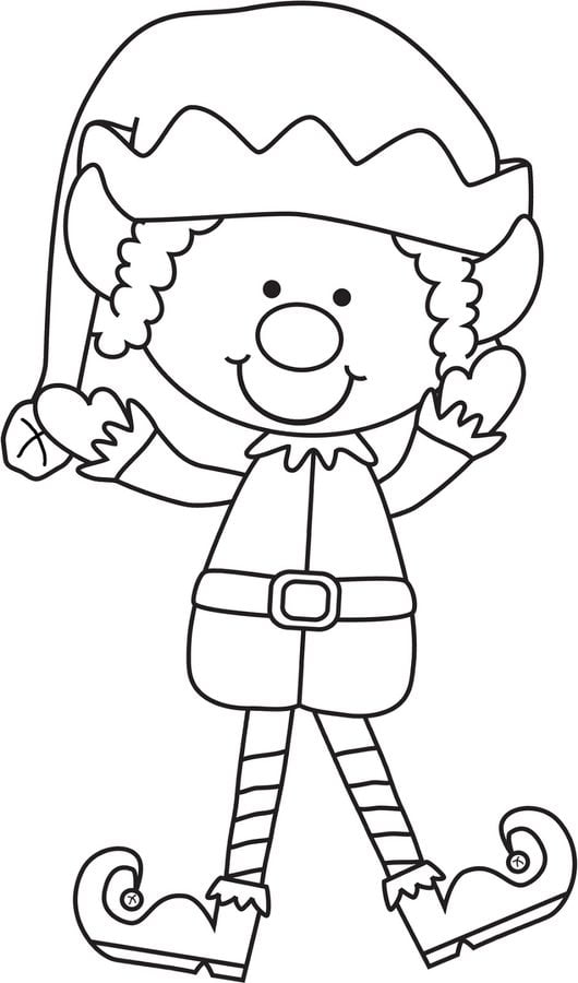 Kolorowanki Elf do druku dla dzieci