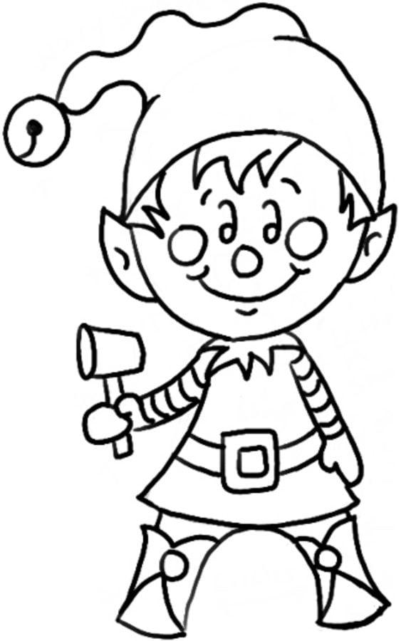 Kolorowanki Elf do druku dla dzieci i doros ych
