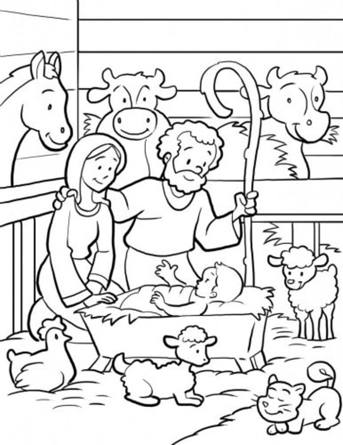 Coloring pages: Nativity scene, printable for kids & adults, free