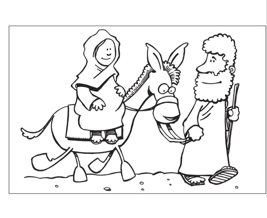Coloring pages nativity scene printable for kids for Nativity animals coloring pages