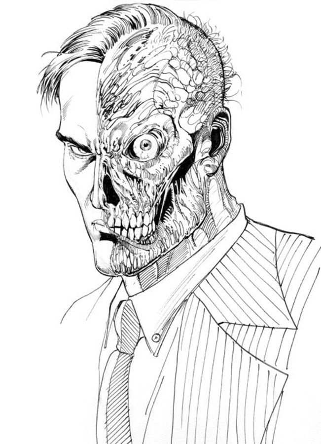 Coloring pages Two Face printable for kids adults free