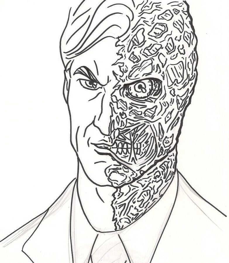 Coloring pages: Two-Face, printable for kids & adults, free