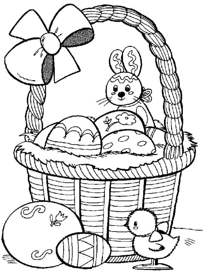Dibujos para colorear: Canasta de Pascua imprimible, gratis, para ...