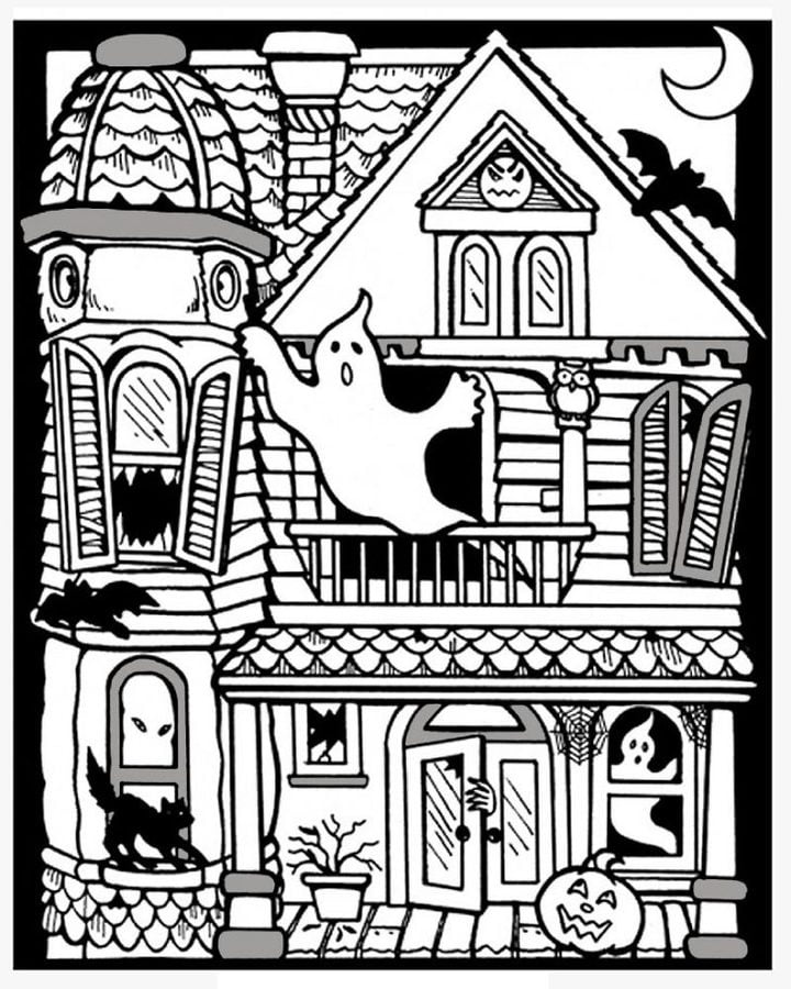 Único Páginas Para Colorear De Casas Embrujadas De Halloween ...