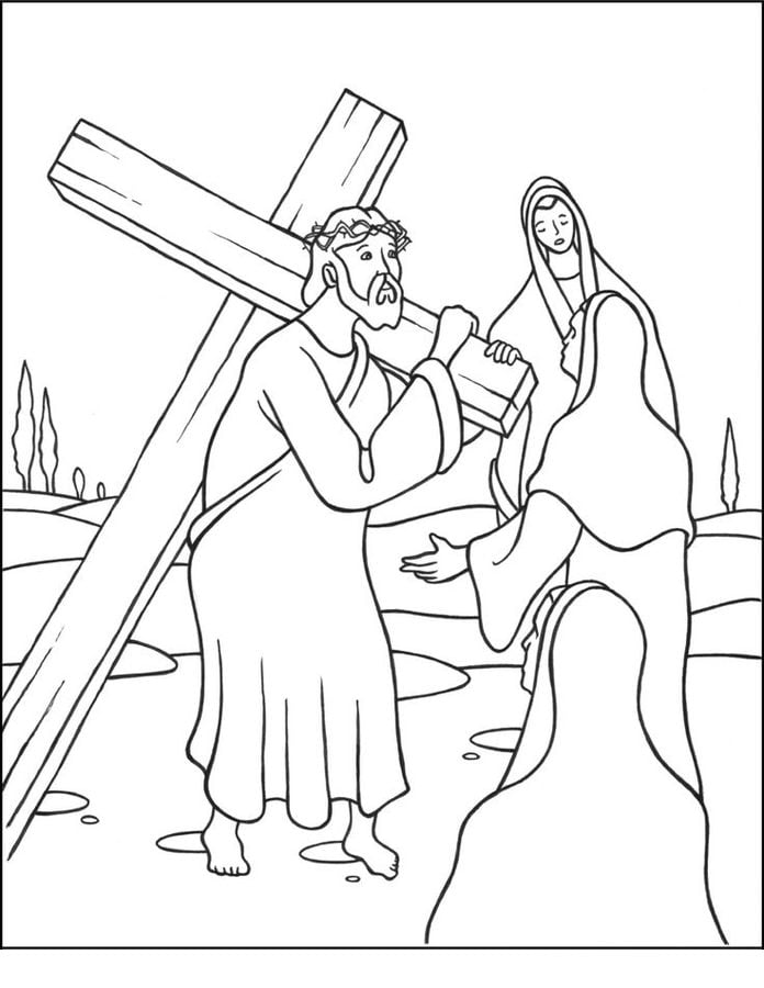 Coloring pages Jesus Stations