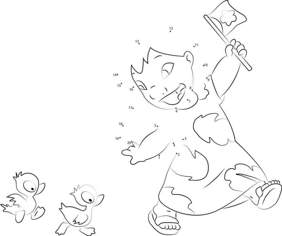 Unir puntos: Lilo & Stitch imprimible, gratis, para los niños y los ...