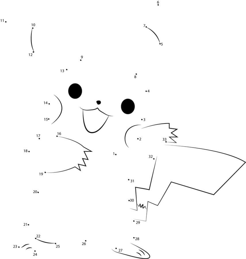 Relier les points pikachu imprimable gratuit pour les - Point a relier gratuit ...