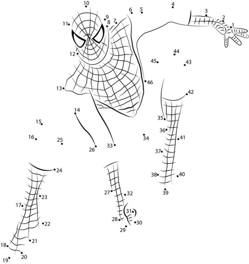 Unisci i puntini uomo ragno stampabile gratuito per