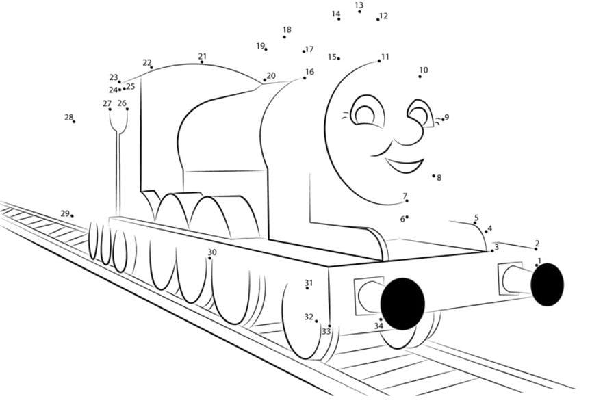 Punkt zu Punkt: Thomas, die kleine Lokomotive zum ausdrucken ...