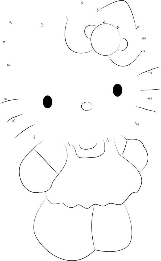 Unisci i puntini hello kitty stampabile gratuito per