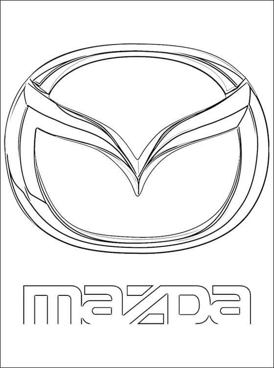Coloring pages Mazda logo printable for kids adults